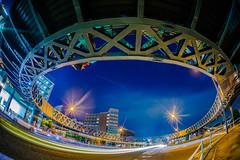 Circle Footbridge #2 (aotaro) Tags: circle minatomirai circlefootbridge circlewalk sigma15mmf28exdgfisheye japan taxi yokohama crossroads longexposure night ilce7m2 intersection