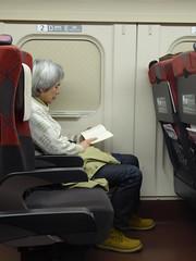Not interested in the views (seikinsou) Tags: japan spring omiya kanazawa shinkansen jr railway train travel hakutaka windowseat book blind