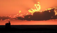 Sunset approching land, Finland, July 2016 (Juha Riissanen) Tags: land finland sunset orange sea baltic clouds lighthouse horizon summer glow island