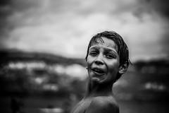 Hey you ! (PaxaMik) Tags: portrait portraitnoiretblanc noiretblanc noir nb grimace visage face paysage gouttes drops t summertime summer baignade swimmer baigneur