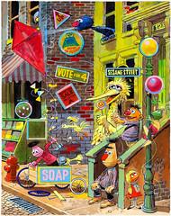 """Puzzle of the Hidden Shapes"", Sherlock Hemlock's Hidden Answer Jigsaw Puzzle by Jack Davis, 1971 (Tom Simpson) Tags: sherlockhemlock bigbird jackdavis sesamestreet illustration vintage television vintagetelevision art painting 1971 1970s ernie oscarthegrouch"