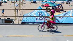 Pink Biker (Kevin MG) Tags: usa ca losangeles manhattanbeach beach sand water ocean fun kids children young youth little adolescent bicycle bike ride