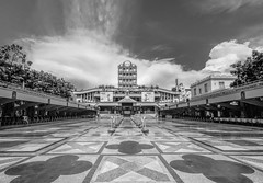 Pilgrim Center of the Basilica Minore del Santo Nino (FotoGrazio) Tags: waynesgrazio travelphotography fotograzio philippines clouds religion tile plaza christian waynegrazio placeofworship sky catholic basilicaminoredelsantonino blackandwhite cebu architecture streetphotography