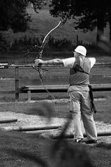 Early morning practice (Richie Rue) Tags: nikond300 archer archery bow practice practising mono monochrome blackandwhite