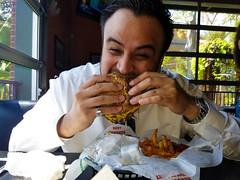Burger man (Eck-tor) Tags: dallas texas portrait samsung edge 7 jakes burgers uptown cheese burger eating