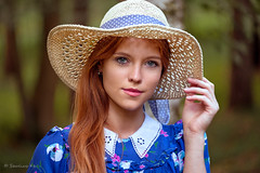 Gintare (sauliuske) Tags: hat forest portrait female young pretty red redhead bluedress hair eyes sunhat