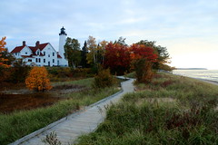 Point Iroquois Lighthouse at Dusk (Cole Chase Photography) Tags: autumn lighthouse fall canon october fallcolor dusk michigan whitefishbay upperpeninsula t3i pointiroquois pointiroquoislighthouse