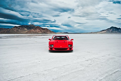 Ferrari F40 | Staredown (Folk|Photography) Tags: red sky white mountain storm clouds utah salt dramatic ferrari front flats bonneville 2012 f40