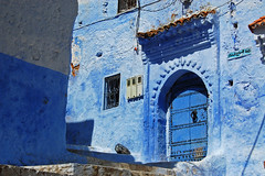 Doorway, stairs and blue paint in Chefchaouen, Morocco (lubow) Tags: street door blue vacation sun white holiday tourism window stairs hotel ancient nikon northafrica muslim hippy doorway trail morocco berber atlas medina hippie marijuana backpacker chefchaouen hash nord moroccan rif whitewash hashish backstreets afrique rifmountains d40 libow