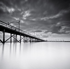 White Rock Pier (Alan Drake) Tags: ocean light sky blackandwhite bw canada clouds digital landscape nikon october long exposure pacific britishcolumbia r d7000