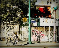 Spadina World (Sue, Toronto) Tags: toronto bicycle graffiti globe human kensington spadina
