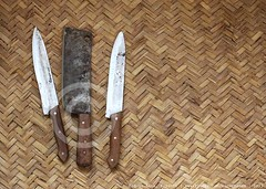 Knives ready for sacrifice, Karachi (Ameer Hamza) Tags: pakistan people classic beauty 50mm nikon muslim eid sharp knives muslims iconic sind sindh islamic 2012 ppa jute edged religioussymbol azha qurban qurbani chattai islamictradition eidinkarachi ameerhamzagettyimages