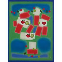 knitting oma 642 (mariechloe') Tags: blue original red abstract green art painting happy folk ebsq gift manuscript tender textured primitive ocher art4all colourlicious mariemella