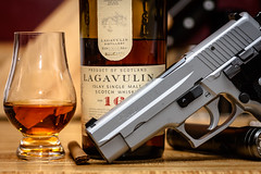 Ready for Sandy (WickedVT) Tags: storm vermont gun hurricane pistol whisky scotch sig preparation 9mm lagavulin p226 preparedness glencairn sigsauer