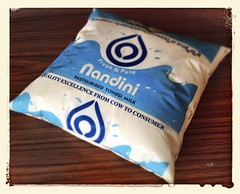 Nandini milk in a bag