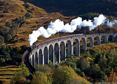 Jacobite on Glenfinnan Viaduct (DWHonan) Tags: railroad bridge west train concrete scotland highlands track honeymoon arch fort harry potter railway william steam glen line viaduct passenger glenfinnan mallaig finnan jacobite blackfive black5 45407