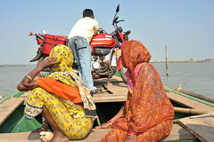 motorcycle (greenelent) Tags: chilikalake india orissa odisha water women motorcycle saree color photoaday 365 photography nikon