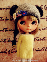 Yellow Angora Mohair sweater & Flower hat