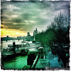 from the bridge (sheila mckinney) Tags: uk trees winter london clouds bigben riverthames embankment drama2 january2013 hipstamatic iphone4s snapseed
