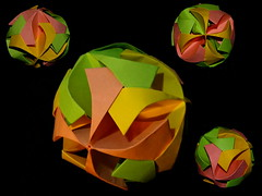 Armored Ball, Toshikazu Kawasaki, collage (Aneta_a) Tags: origami kawasaki modularorigami kusudama toshikazukawasaki octahedralsymmetry simplepaper