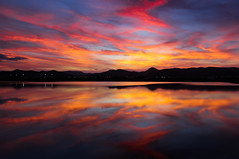 Salt pan sunset (snowyturner) Tags: sunset mountains clouds landscape airport twilight spain mediterranean colours ibiza afterglow balearic sessalines