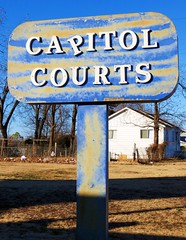 Capitol Courts (tikitonite) Tags: street urban sign america vintage downtown metro decay neighborhood capitol faded forgotten signage americana courts fading roadside okc oklahomacity crooked fragment streetside