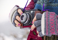 Capturing Winter (Vemsteroo) Tags: camera winter snow cold colour film ice girl scarf 35mm canon vintage creativity person cool holding hands women frost seasons bokeh painted creative hipster happiness 100mm retro nails gloves series snowing analogue f28 enjoyment oneperson 6d wintery hobbie realpeople