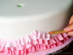 Pink ruffles how to (fabcakelady) Tags: christeningcake baptismcake pinkruffles pinkombrecake
