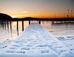 Winter sunset (dubbelt_halvslag) Tags: winter sunset sea snow cold color canon bay coast vinter marine seasons sweden marin schweden scandinavia westcoast archipelago bohusln solnedgng brygga skrgrd kunglv g10 tjuvkil