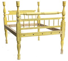 2. 19th Century Yellow Painted Rope Bed
