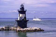 Rounding Orient Light (joegeraci364) Tags: ocean new york sea lighthouse building history beach nature water architecture outdoors island coast marine long connecticut structure shore maritime sound nautical navigation orientpoint
