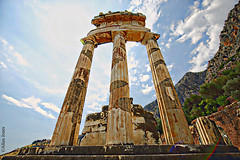 Ancient Delphi (Allan Jones Photographer) Tags: delphi ancientdelphi ancientgreece columns tholos greece greek temple monument ruins ancientruins archeology worldheritagesite lonelyplanet tourism travel hdr wideangle tholoswideangle marble building awesome amazing archaeologicalsite archaeology pythia mountparnassus photoshop allanjonesphotographer canon5d3 canonef1635mmf4lisusm