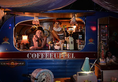 In Wellington, Its Coffee You Feel (Peter Kurdulija) Tags: new zealand wellington city capital girl woman caravan coffee drink spirit night happy colorful hat coffeeufeel reflection lamp peter kurdulija photographer