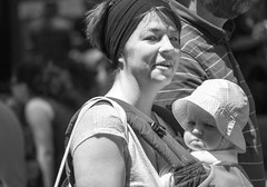 Mother and Child at Quincy Market (John Bense) Tags: mother baby parent carry motherhood parenting mom child children infant strap urban city street boston massachusetts quincy market people blackandwhite monochrome
