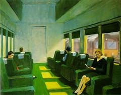 I Don't Think It's A Kindle! (whosoever2) Tags: edwardhopper chaircar 1965 painter artist usa railroad train class66 db cargo
