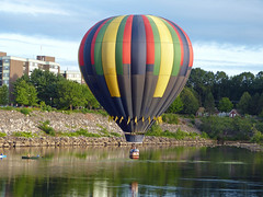 """Windspirit hot air balloon (lucre101) Tags: windspirit skimming alabama hot air balloon great falls festival usa america auburn lewiston maine river flying sky ballooning charity fund raiser booster"