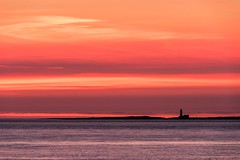 Red Sky in the Morning (JSP92) Tags: landscape sky sea red sunrise dawn lighthouse nikon tones colour cloud clouds seascape sun