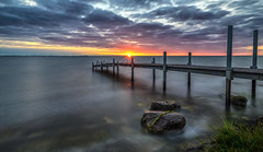 Pier at Sunrise (mcalma68) Tags: pier jetty sunrise ijsselmeer warder longexposure clouds seascape waterfront