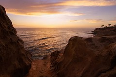 Sitting Spot (kirstenscamera) Tags: sunsetcliffs sandiego sky sunset oceanbeach ob sd nikon pointloma ca california cliffs caves palmtrees beach pacificocean ocean water evening
