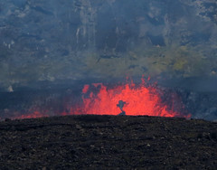 Spattering of the lava lake at Halemaumau crater (rocksandstones) Tags: spattering lava lake halemaumau crater