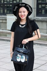 Coco (2) (TaipeiStyle) Tags: girl woman taipei taiwan songshanculturalpark hat black fashion style stylish fashionstyle fashionista streetstyle streetwear streetfashion street overall foodforthought tote sequins necklace