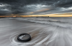 Steetley Pier And A Tyre (Steven Peachey) Tags: sea sky clouds beach sand pier hartlepool tyre canon seascape sunset light exposure backwash canon6d ef1740mmf4l leefilters lee09gnd lee06gnd lowlight wideangle northeastcoast stevenpeachey lightroom5