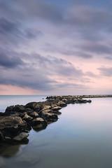 Sunrise (physyco) Tags: sunlight light sunrise luce mare sea rock seascape landscape italia italy clouds cloud color calm summer august morning nikon