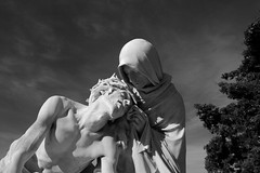 Between hope and despair (Franois Tomasi) Tags: google flickr christ jsus saint sainte religion christianisme pierre statue statuette pointdevue pointofview pov nikon marseille france tours nuage ciel noiretblanc blackandwhite nb bw lumire lumires light lights monochrome clairage art architecture visage expression supershot