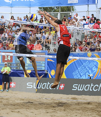 Blocking Attempt (Danny VB) Tags: fivb swatch worldtour samoilovs latvia latvian toronto torontofinals sport action bensaxton stadium photo photography summer canada ontario crowd block blocking attempt