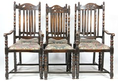 42. Set of (6) Jacobean style Dining Chairs