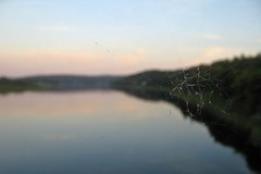 landscape and web (Mr.  Mark) Tags: bridge sunset macro river landscape spider photo blurry web stock perspective hartland markboucher