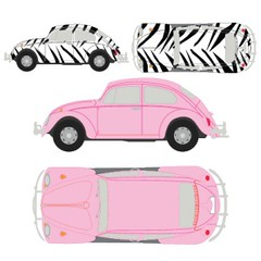 Cute Car (vectorbundles.com) Tags: pink classic car design beetle zebra sideview vector topview editable