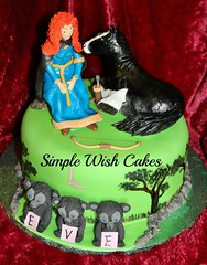 disney brave cake (Simple Wish Cakes) Tags: our cakes by us all made merida wish simple figures greendisneybravecakeallhandmadefromscratchwithangus andher3brothers