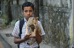 Schoolboy and kitten, Yeoor Hills (Raju Bist) Tags: